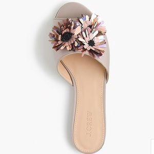 Satin slides with floral embellishments